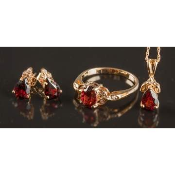 Gold, Garnet & Diamond Earrings, Ring & Pendant