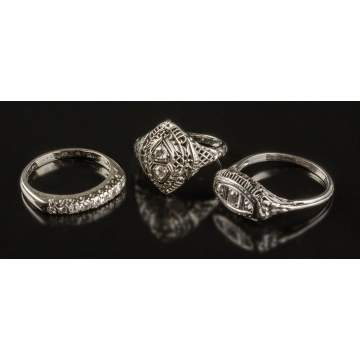 3 Vintage White Gold & Diamond Rings