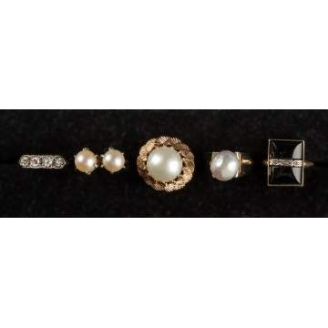 5 Vintage Pearl & Diamond Rings