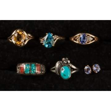 Gold, Gemstone & Turquoise Rings & Earrings