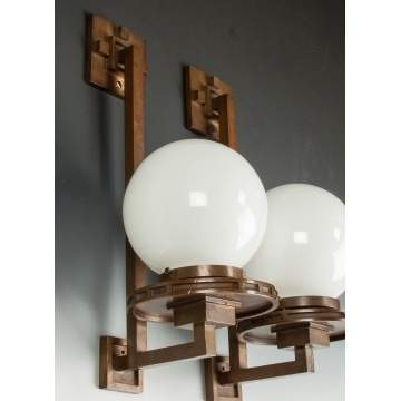 Frank Lloyd Wright (American, 1867-1959) Pair of Rare Wall Sconces