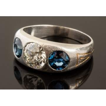 Men's Vintage Platinum, Diamond & Sapphire Ring