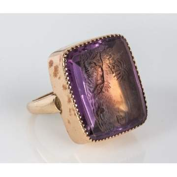 14K Gold & Engraved Amethyst Ring