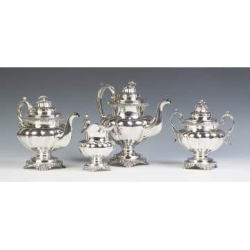 Jones, Lows & Ball, Boston, MA, Coin Silver Four Piece Tea Set
