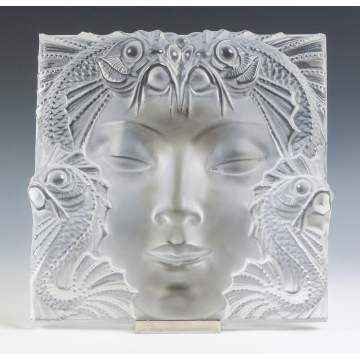 "R. Lalique ""The Mask"" Frosted Glass Plaque"