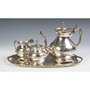 Mexican Sterling Silver Three Piece Tea Set with Matching Tray