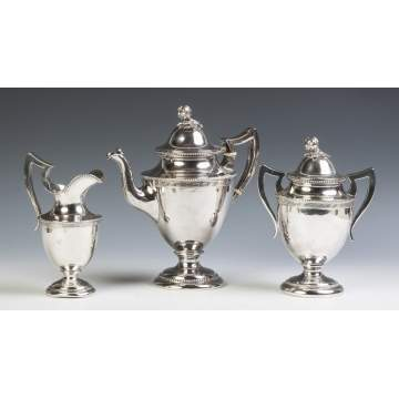 Jones, Shreve, Brown & Co., Boston, Three Piece Coin Silver Tea Set