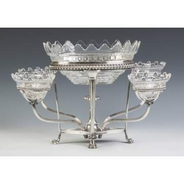 Silver Plate Epurn with Cut Glass Inserts