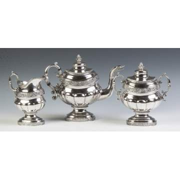 Peter Chitry (American) Three Piece Coin Silver Tea Set