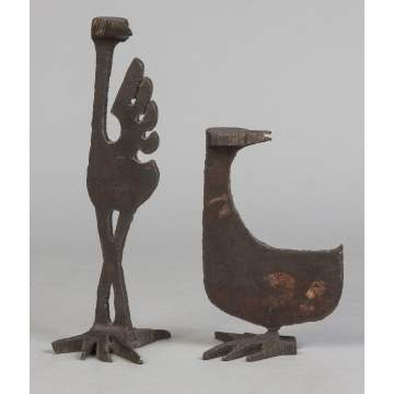 Albert Leon Wilson (Rochester, NY, 1920-1999) Two Sculpted Steel Stylized Bird Sculptures