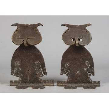 Albert Leon Wilson (Rochester, NY, 1920-1999) Sculpted Steel Andirons with Stylized Owls