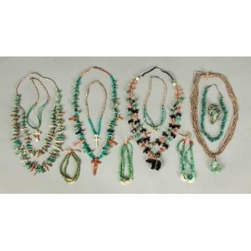 Group of Various Turquoise & Carved Necklaces