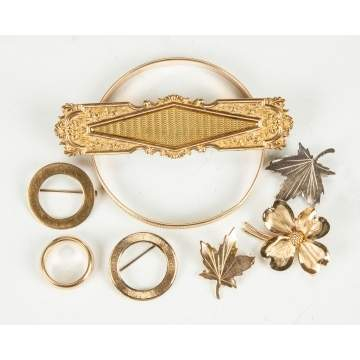 Various Gold Pins, Bracelet & Ring