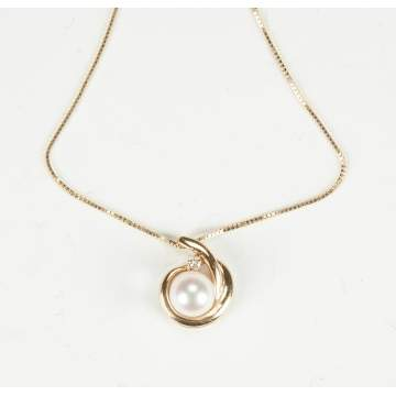 Gold, Pearl & Diamond Necklace