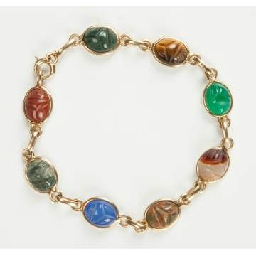 14K Gold Bracelet with Carved Hardstone Scarabs