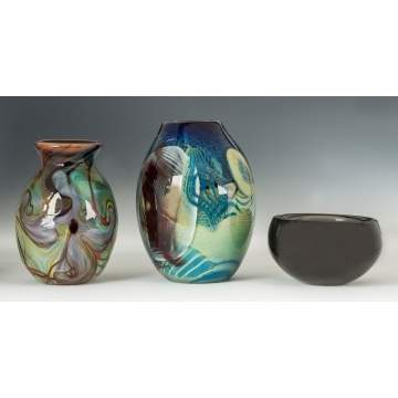 Contemporary Art Glass Vases & Orrefors Bowl