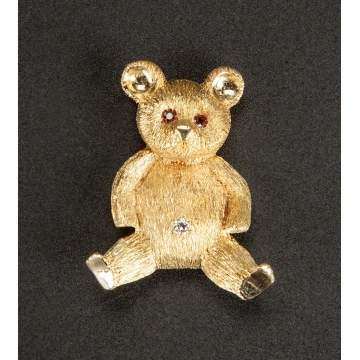 Attr. to Cartier, 18K Gold Teddy Bear Pin