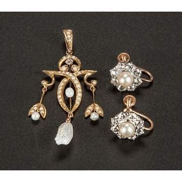 14K Gold, Diamond & Pearl Pendant & Clip Earrings