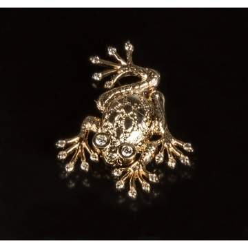14K Gold & Diamond Frog Pin
