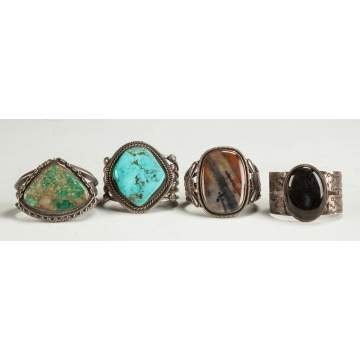 4 Turquoise and Hard Stone Navajo Bracelets