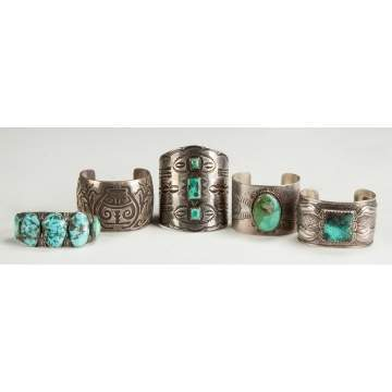5 Silver and Turquoise Bracelets