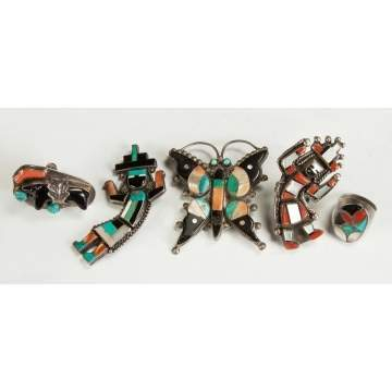 5 Pieces of Vintage Zuni, Turquoise, Coral, Mother of Pearl & Silver Jewlery
